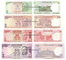 INDE 5 + 10 + 20 + 50 roupies 2011-17 Lot de 4 billets 4 pcs UNC