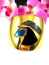 FABULOUS LAUREL BURCH POLISHED GOLDTONE INLAID STONE WILD STALLION CUFF BRACELET