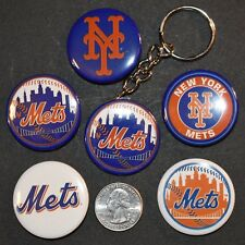 """Set of 5 1 1/2"""" Pinback Buttons New York METS + Key Chain Retro Keychain"""