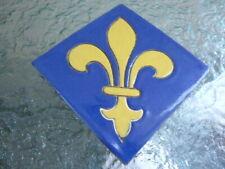 More details for vintage tile handmade ceramic terracotta pottery fleur de lys (lis) design