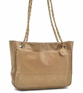 Authentic CHANEL Calf Skin Matelasse Chain Shoulder Hand Bag Beige E0634
