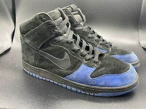 2000s Nike SB Dunk High Black/Royal Blue Size 13 NICE SUEDE AND COLORWAY!!!