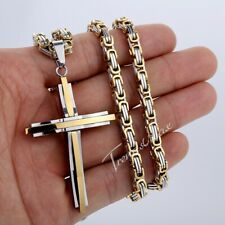 Mens Chain Byzantine Stainless Steel Cross PENDANT NECKLACE 4 COLORS