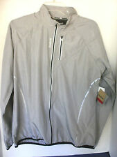 REEBOK SPORT~Gray Lightweight RUNNING CYCLING JACKET~Reflective Trim~Large~NWT