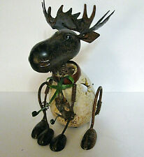 Metal Bobblehead Mountain Moose Candle Holder Light, Large 9.5""