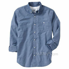 NWT Men Slim-Fit Long Sleeve Shirts Navy Stripes/Light Blue/Denim Style Top S-XL
