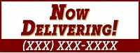 """Food Delivery Banner 18""""x48""""Free Shipping & Customization, Ready to Hang!"""