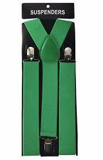 "1X Green Mens Clip-on 1.5"" WIDE Suspenders Elastic Y-Shape Suspender"