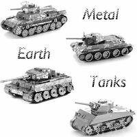 Set of 4 Fascinations Metal Earth SHERMAN TIGER I CHI HA T-34 TANK 3D Model Kit