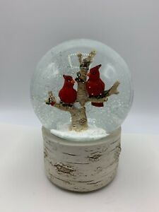 Martha Stewart Christmas SnowGlobe Cardinals In Tree We Wish You A Merry Xmas
