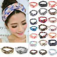 Women Ladies Floral Yoga Elastic Turban Twisted Knotted Hair Band Headband Cute