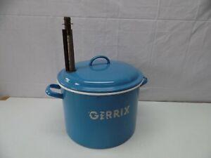 alter GERRIX Emaille Topf Einkochtopf Email Pflanztopf hellblau 40er 50er #5328