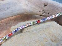 New 10.20 ctw Multi Gemstone Amethyst Ruby Tennis Bracelet Sterling Silver  #509