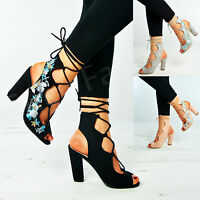 New Womens Ladies Floral Lace Up Sandals High Block Heels Cage Shoes Size Uk 3-8