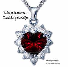 "SCARLET ROSE HEART NECKLACE CRYSTAL MOONLIGHT SWAROVSKI CRYSTALS  LOVE GIFT 24""*"