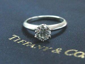 Tiffany & Co Platinum Round Diamond Solitaire Engagement Ring G-VS1 .90CT