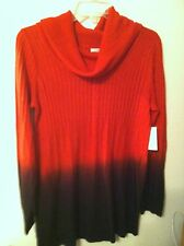 NEW..KATE & MALLORY..SWEATER..M..RED/BLACK..CASUAL..100%ACRYLIC..COWL NECK