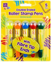 5 X Doppia Punta Roller Timbri Penne Pennarello Scuola Bambini Bimbi Casa Fibra