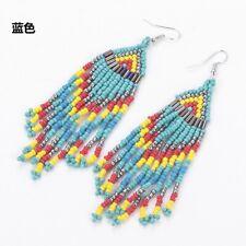 Retro Bohemian Multi Color Resin Seed Beads Tassel Dangle Earrings Boho Jewelry