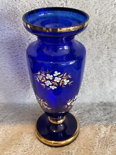 Vintage Bohemian Czech Vase in Blue with Hand Painted Gold Detailing