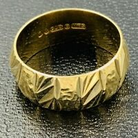 Vintage 9ct Yellow Gold Alternating Banded Pattern Wedding Ring 7mm Sz K #743