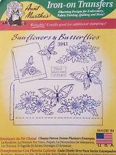 Aunt Martha's Hot Iron Transfer 3941 Sunflowers & Butterflies NEW