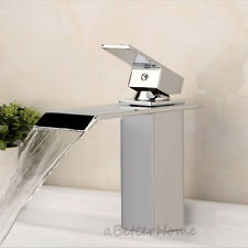 Modern Chrome Waterfall Bathroom Basin Sink Faucet Single Handle Hole Mixer Tap