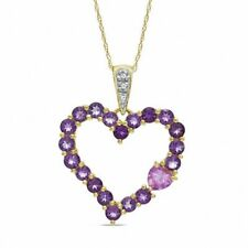 Natural Amethyst,Pink Sapphire & Diamond Accent Heart Pendant 10k Yellow Gold