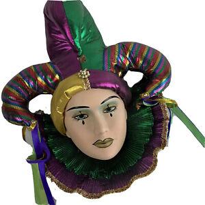 Vtg Clay Theater Mask Jester Mardi Gras Metallic Wall Decor Matte