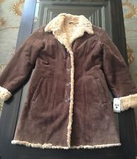 Womens Vintage Brown Wilsons  Suede Long Leather Fur Coat Jacket Small NWT