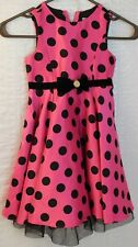 Girls Size 4T Cute Pink Dres w Polka Dots & Bow Halloween Dress up or Reg Dress