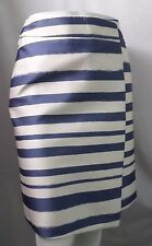 """""""TOPSHOP """" IVORY AND BLUE STRIPED FAUX WRAP MIDI SKIRT SIZE: 6 NWT"""