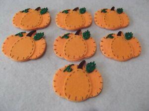 Felt pumpkin stickers, new, 7 pieces