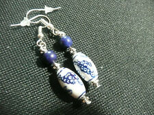 Vintage Deco Style Grapes on the Vine Ceramic Lapis Lazuli Not So Long Earrings