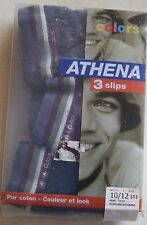 3 slips neuf taille 10-12 ans marque ATHENA Colors (noir/anthracite dé/prune)