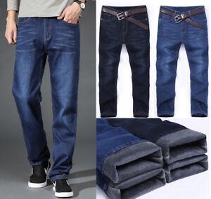 Mode Herren Winter Dicke Thermo Jeans fleece Denim Hose Baumwolle warme Hosen