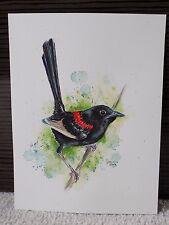 "ORIGINAL Watercolour Painting BLACK FAIRY WREN, 9"" x 7"", Colourful Bird Artwork"