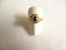 Anello donna Oro giallo 18 kt, zaffiro blu,diamantini RING Gold 18  idea regalo