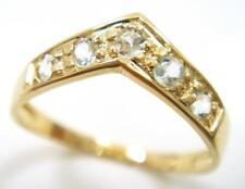 SYJEWELRYEMPIRE 10KT YELLOW GOLD ROUND NATURAL AQUAMARINE RING  SIZE 7 R1186