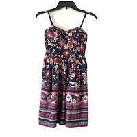 Band Of Gypsies Navy & Red Floral Mini Dress Fit & Flare Womens Size XS