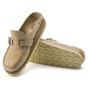 New Women's Birkenstock Buckley Leather Clog Shoes Size US 7-7.5 Euro 38 Sand
