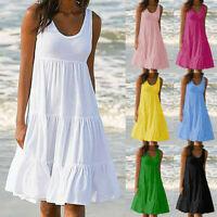 Womens Holiday Summer Solid Sleeveless Party Beach Loose Short Dress Sundress