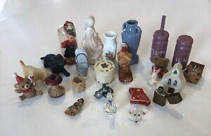 (25) Miniature Figures Shadow Box Wood Porcelain Glass Pewter Lot Sale