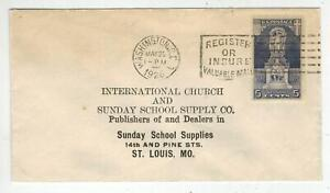 1926 JOHN ERICSSON MEMORIAL 628 Smal FDC To St. Louis Sunday School Church