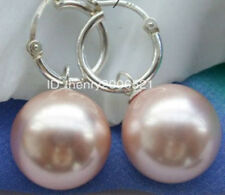 2018 new  beautiful 14mm southsea shell pearl pink earring