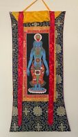 HAND-PAINTED, KUNDALINI CHAKRA, TANTRA,  MINERAL, THANGKA  ON SILK BROCADE