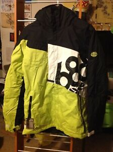 NEW 686 Mannual Iconic 8k Neon Green, Black & White Snowboard Jacket S Small