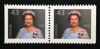 Canada #1358as AP CP MNH, Queen Elizabeth II Booklet Pair of Stamps 1992