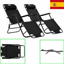 2x Tumbonas Plegables con Reposapiés Mobiliario de Terraza Jardín Playa Negro