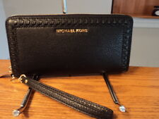 Authentic Michael Kors Lauryn Travel Leather Continental Zip Wallet Black NWT
